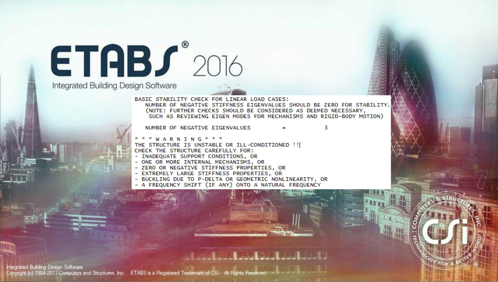 ETABS Instability Message | | The Structural World