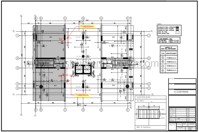 Revised First Floor Slab Showing Additional Rebar for Shear