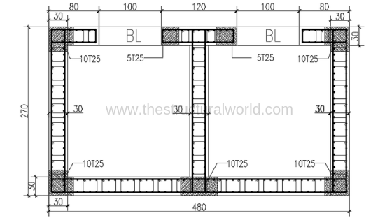 Shear Wall Showing Confined Reinforcement  Regions
